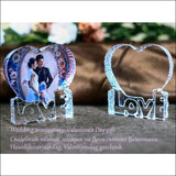 Customized Heart Shaped Crystal Wedding Photo Frame With Love Base