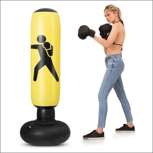 Inflatable Boxing Punching Bag - Yellow - Gym Equipment