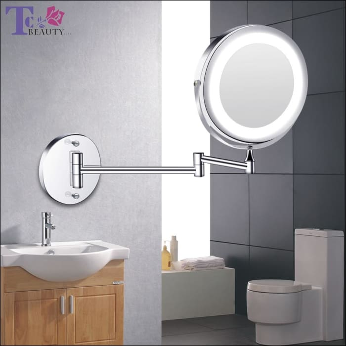 Led Makeup Mirror With Light Folding Wall Mount