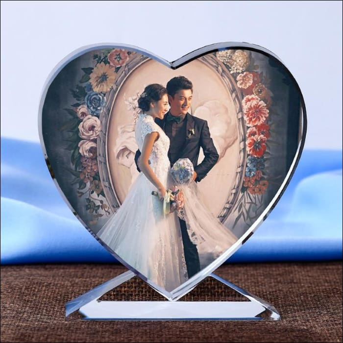 Personalized Heart Crystal Photo Frame