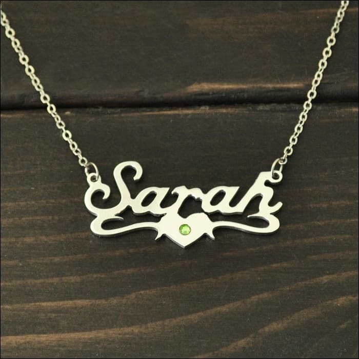 PERSONALIZED NAME HEART NECKLACE WITH BIRTHSTONE