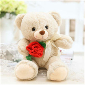 Plush Rose Teddy Bear - 25cm / Beige - 100001765