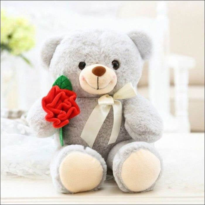 Plush Rose Teddy Bear - 25cm / Gray - 100001765
