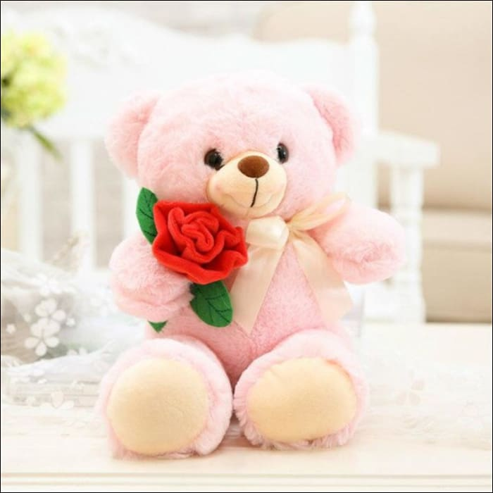Plush Rose Teddy Bear - 25cm / Pink - 100001765
