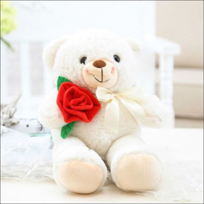 Plush Rose Teddy Bear - 25cm / White - 100001765