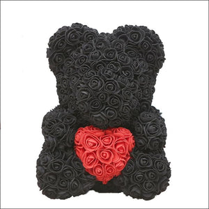 Rose Teddy Bear - black with red - 100001826