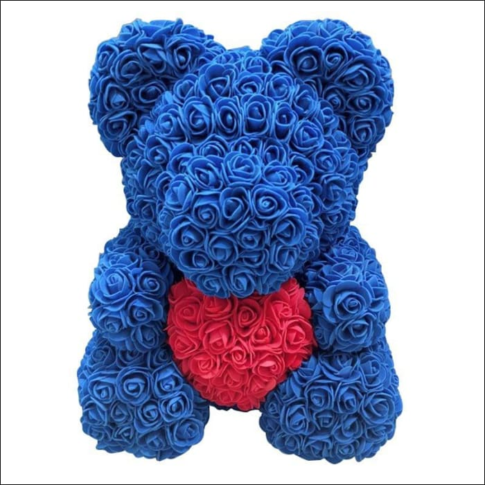 Rose Teddy Bear - blue with red - 100001826
