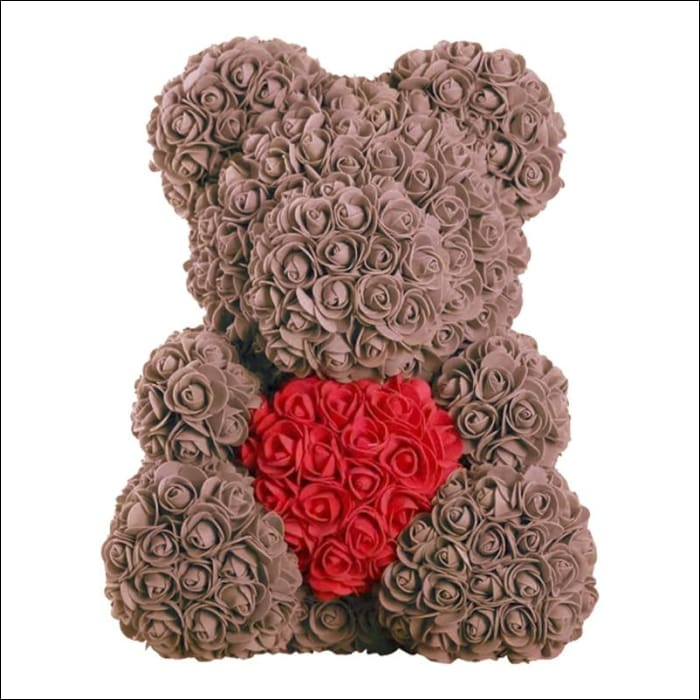 Rose Teddy Bear - brown white red - 100001826