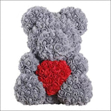 Rose Teddy Bear - gray with red - 100001826