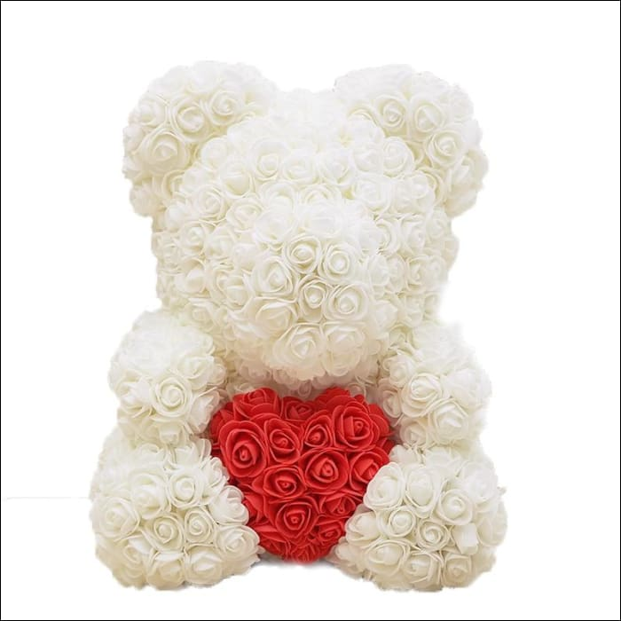 Rose Teddy Bear - Milk white with red - 100001826