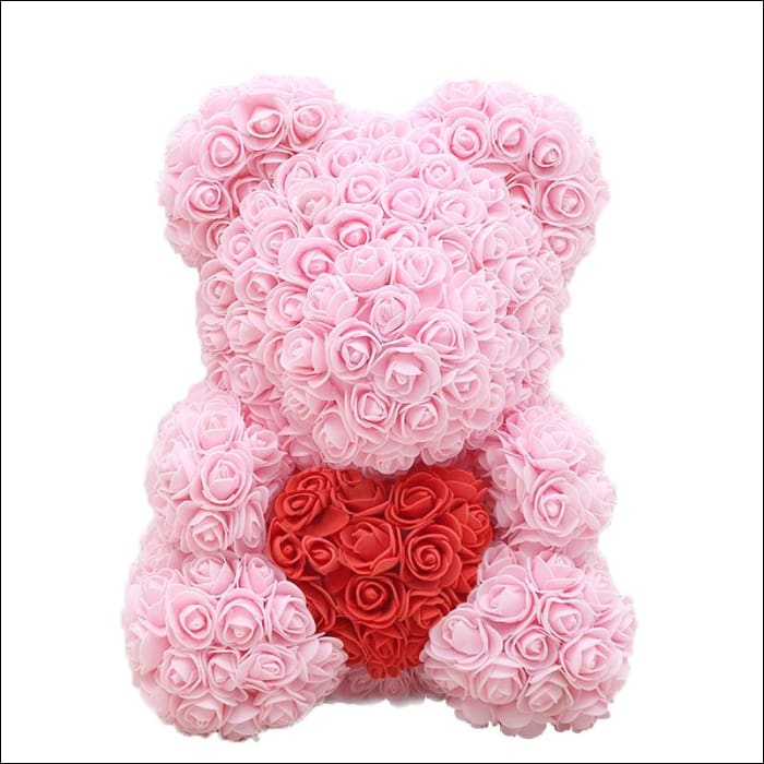 Rose Teddy Bear - pink with red - 100001826