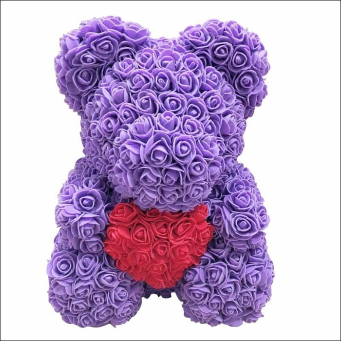 Rose Teddy Bear - purple with red - 100001826