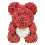 Rose Teddy Bear - red with white - 100001826