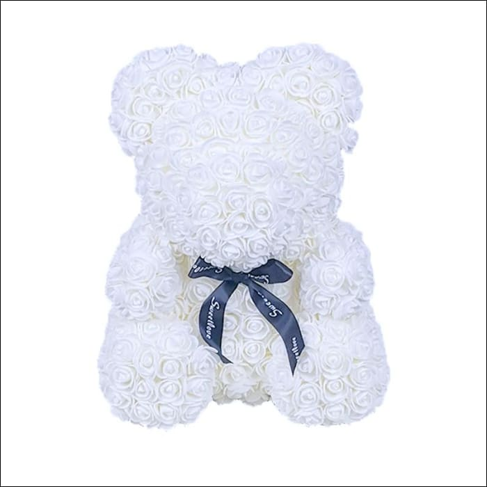 Rose Teddy Bear - White - 100001826