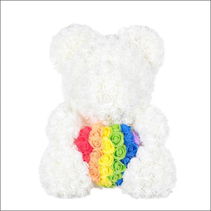 Rose Teddy Bear - white and colorful - 100001826