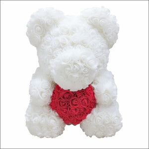 Rose Teddy Bear - white with red - 100001826