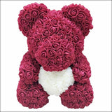 Rose Teddy Bear - Wine red with white - 100001826