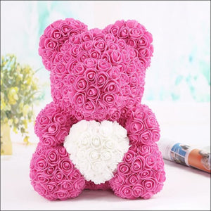 Rose Teddy Bear - rose with white - 100001826