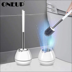 ONEUP TPR Soft Silicone Toilet Brush With Hide Tweezers Toilet Bowl Brush and Holder Set Cleaning Tool Bathroom Accessories Set - 151402