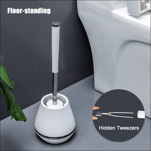 ONEUP TPR Soft Silicone Toilet Brush With Hide Tweezers Toilet Bowl Brush and Holder Set Cleaning Tool Bathroom Accessories Set -