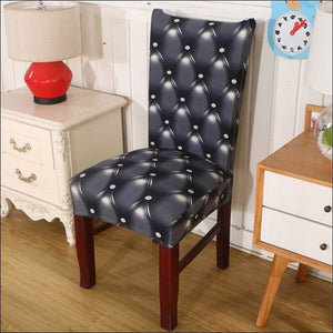 string printed chair cover seat for dining room slipcovers spandex stretch wedding office hotel chair covers - color 9 / 1 piece - 40510