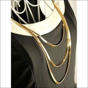 Three Layer Metal Button Long Necklace Sweater Chain