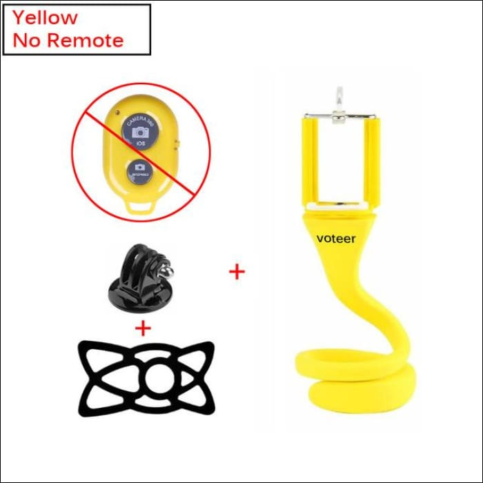 Ultra Value Flexible Selfie Stick With Tripod Monkey Holder - Yellow No remote