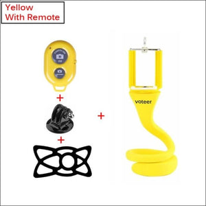 Ultra Value Flexible Selfie Stick With Tripod Monkey Holder - Yellow with remote