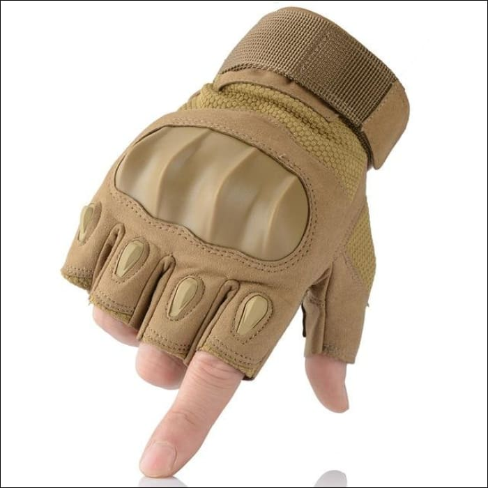 Ultra Value Full Finger Tactical Gloves - Half Finger Brown / L / China