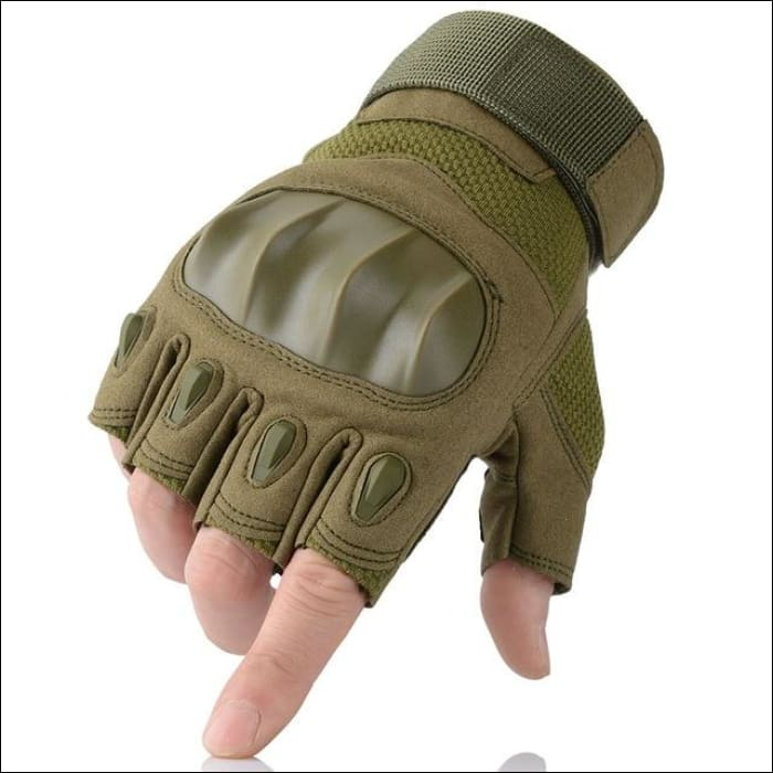 Ultra Value Full Finger Tactical Gloves - Half Finger Green / L / China