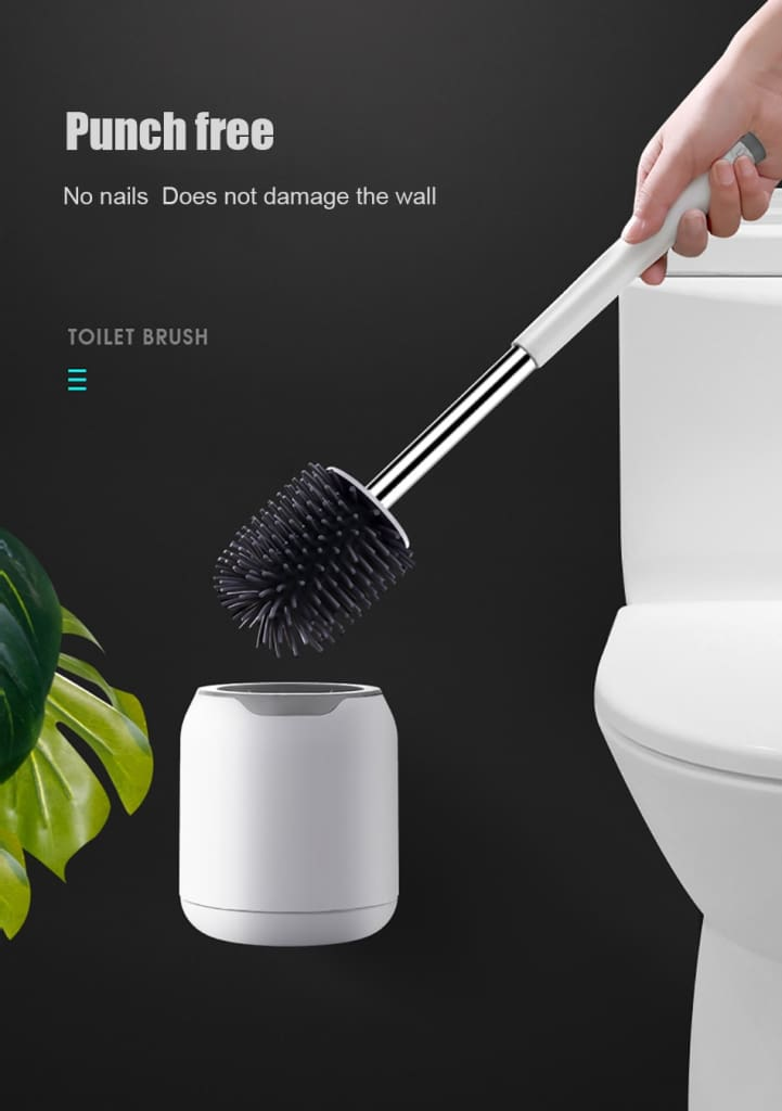 ONEUP TPR Soft Silicone Toilet Brush With Hide Tweezers Toilet Bowl Brush and Holder Set Cleaning Tool Bathroom Accessories Set