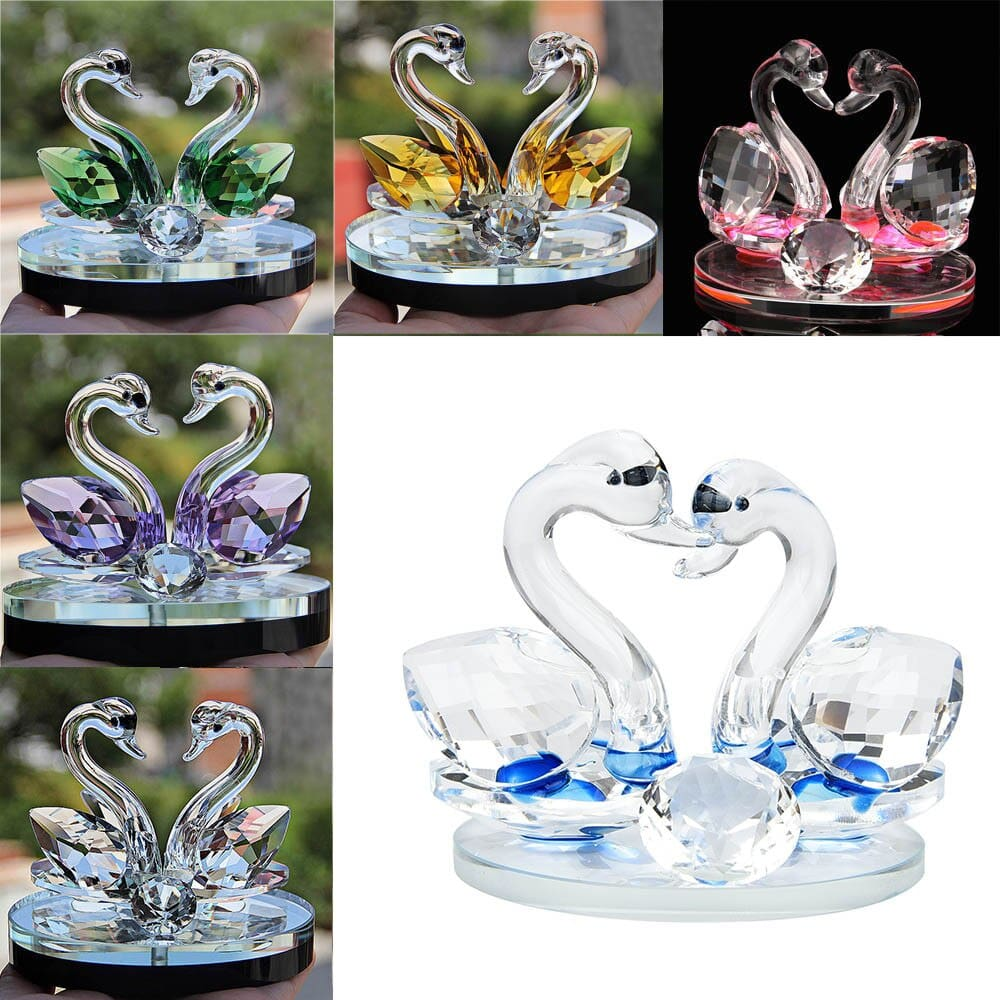Swan Crystal Glass Figurines Collection Diamond Swan Animal Paperweight Table Ornament Wedding Home Decor Kids Birthday Gifts