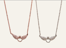 Load image into Gallery viewer, Crystal  Wing Ring Necklace