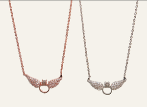 Crystal  Wing Ring Necklace