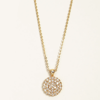 Round gold crystal disk necklace.