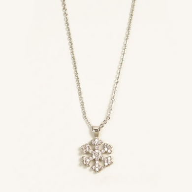 Silver Crystal Snowflakes Necklace