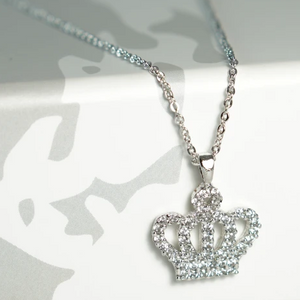 Silver Crystal Crown Necklace