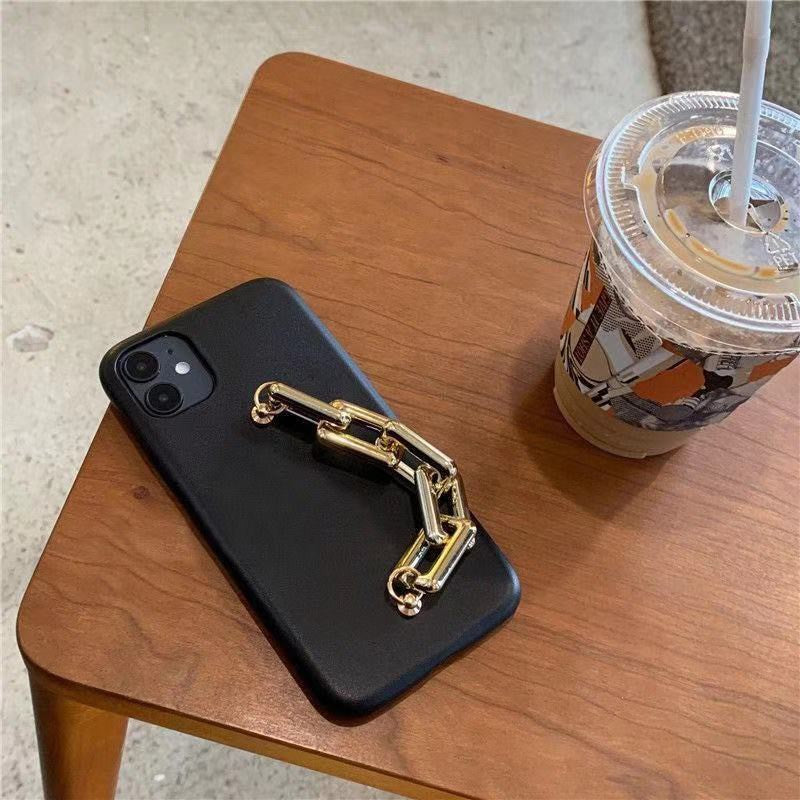 Black And White Leather Chain iPhone Case For All Models - New!