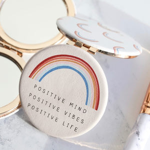 'Positive Vibes' Rainbow Compact Mirror