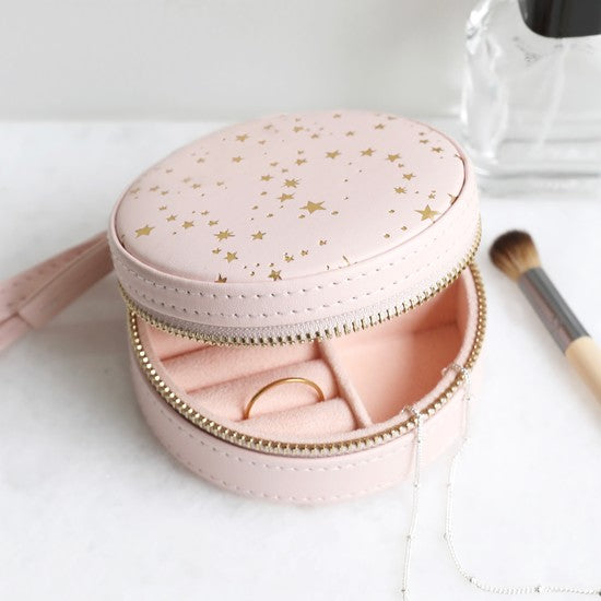 Pink & Gold Stars Mini Round Jewellery Case