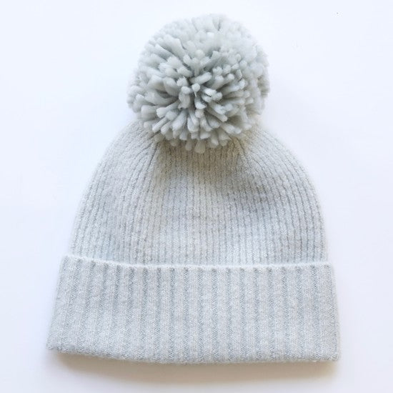 Soft Knit Bobble Hat in Grey