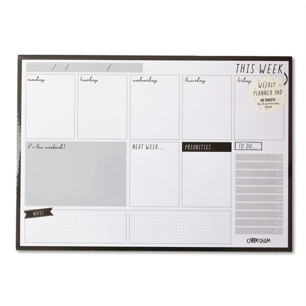 Weekly Planner Pad - Black