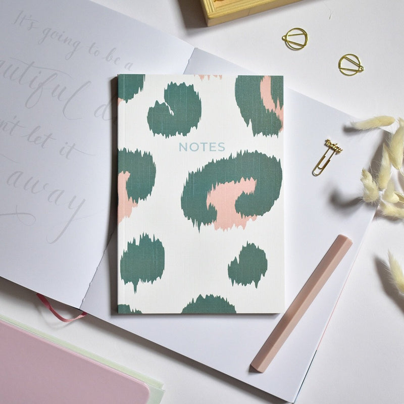 A5 Notebook - Green and Pink Leopard