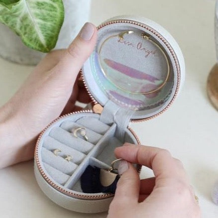 Grey Mini Round Jewellery Case