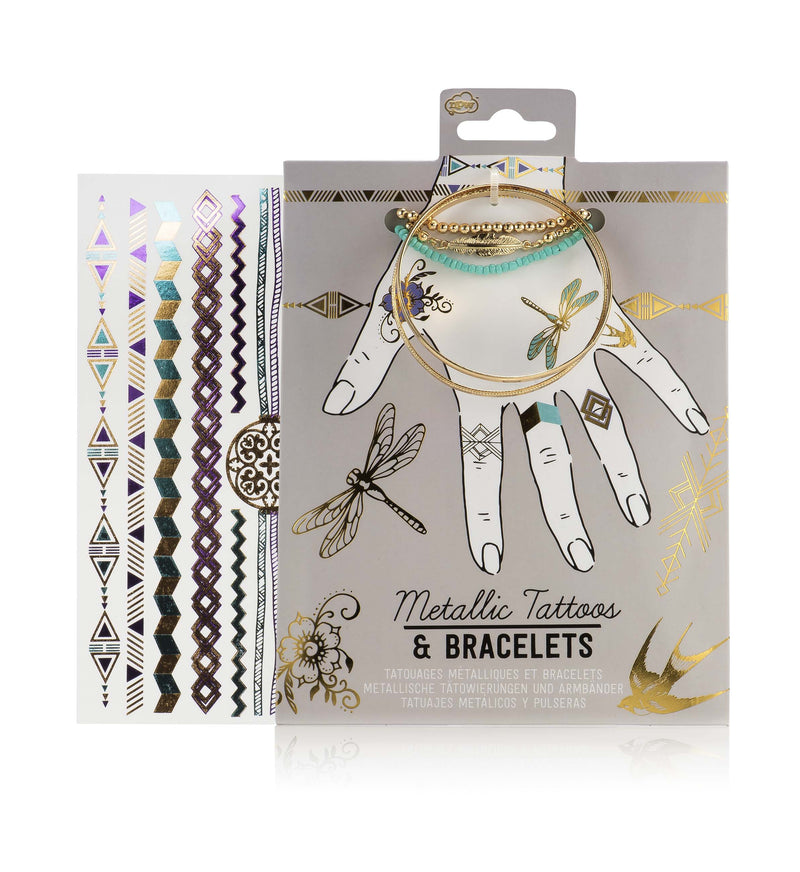 Metallic Temporary Tattoos & Bracelet