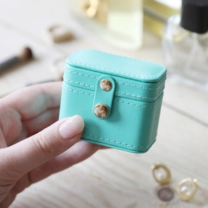 Sea Green & Navy Mini Travel Ring or Earring Box