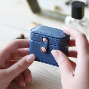 Navy & Mint Mini Travel Ring or Earring Box