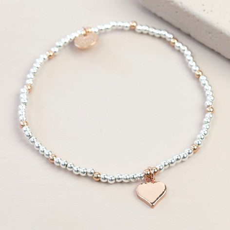 Rose Gold & Silver Beaded Heart Charm Bracelet