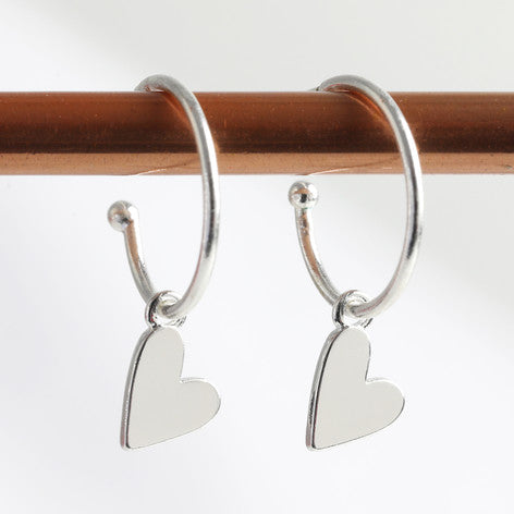 Silver Falling Heart Charm Hoop Earrings