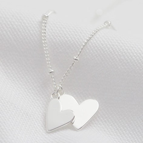 Silver Hearts Charm Necklace